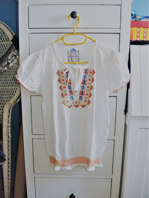 Embroidered vintage inspired white blouse, Ethnic