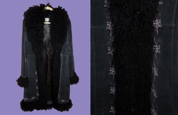 Penny Lane Fluffy Black Mongolian Tibetian Fur Coa