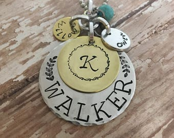 Family tree necklace, Family name jewelry, Initial Hand stamped necklace, Family necklace, Family tree jewelry, wedding gift, Gift for Mom