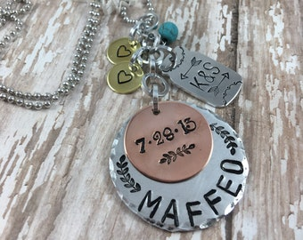 Family necklace, Personalized Hand Stamped name necklace, Mason Jar, Wedding Gift,  Last name jewelry, Family Tree, Surname, Gift for Her