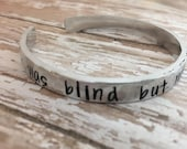Was blind but now I see hands stamped cuff Amazing grace cuff Gospel song jewelry Christian Jewelry Faith Jewelry Amazing Grace