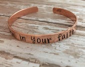 Stand Firm in your Faith hand stamped cuff bracelet Motivational jewelry Christian stamped jewelry Christian bracelet Faith