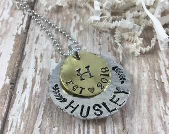 Established necklace, Family necklace, Last name jewelry, Personalized jewelry, Surname necklace, Family Tree, Mom jewelry