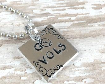 Tennessee Vols football necklace | TN Vols Football | hand stamped necklace | Tennessee jewelry | Vols Jewelry | Go Vols | I love the Vols