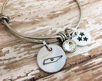 Tennessee Bracelet | Hand Stamped Bracelet |  Tennessee Jewelry | I love Tennessee bracelet | Tennessee Vols Jewelry | Tri star | TN bangle