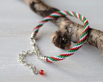 Italian flag bracelet Japanese friendship bracelet White green red braided cord bracelet Striped wrap bracelet Adjustable kumihimo bracelet