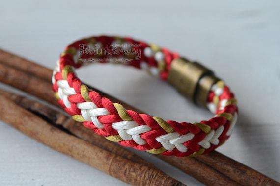 Black white braided cord bracelet Flat kumihimo bracelet Custom size men/'s magnet bracelet Thick Japanese cord bracelet Striped bracelet
