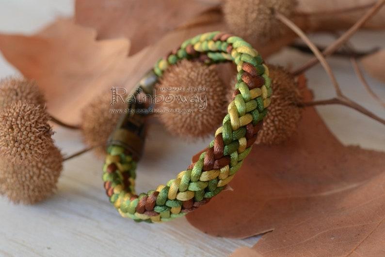 Khaki braided cord bracelet Olive green brown flat kumihimo bracelet Custom size bracelet Japanese cord wrap bracelet Ornamented bracelet