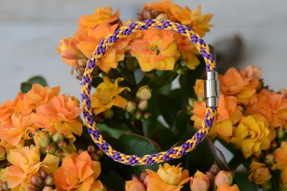 Yellow black kumihimo bracelet Japanese friendship bracelet Bee stripes braided bracelet with magnet clasp Custom size wrap cord bracelet