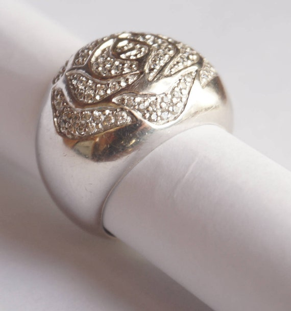 Large Art Deco Ring. 1930s  Ring. Sterling Silver