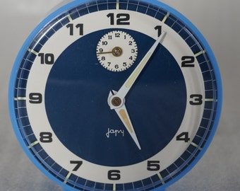 French Vintage  Japy Mechanical Alarm Clock. Blue alarm clock. Made in France 1970s.