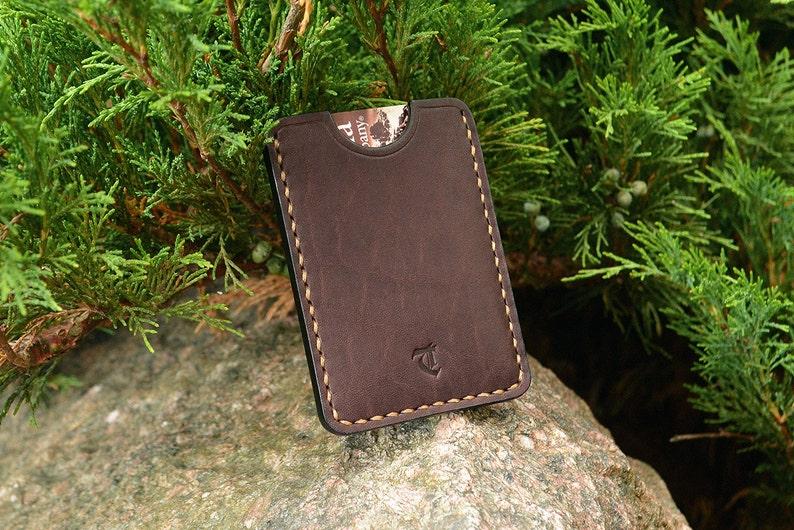 leather card sleeve card holder wallet dark brown minimal
