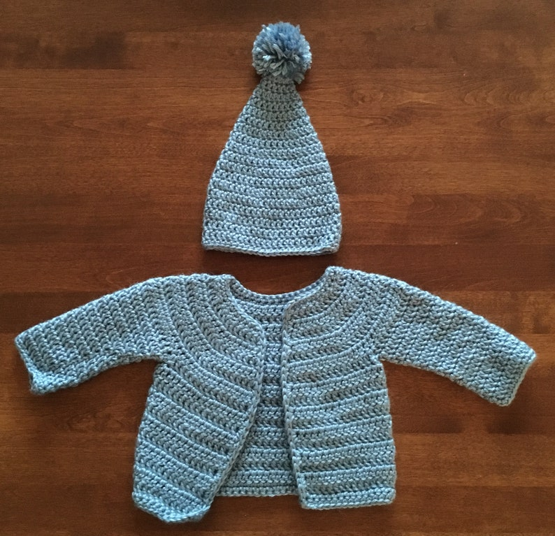 df2bbe363 Crochet Baby Sweater with Matching Hat