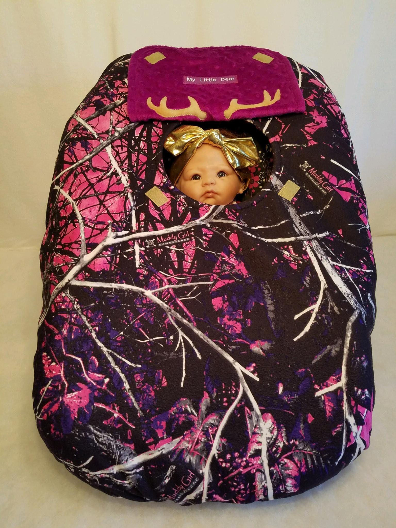 Car Seat Cover Muddy Girl Camo Baby N Purple Minky Lining