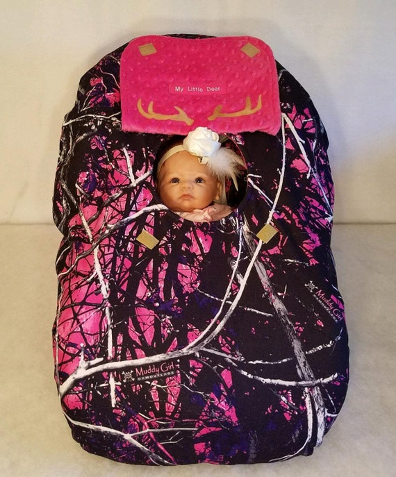 Car Seat Cover Muddy Girl Camo Baby N Bright Pink Minky Dot