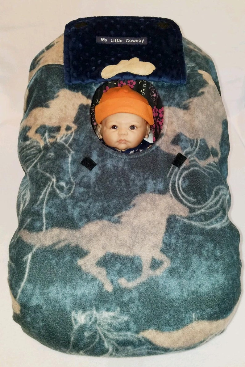 7b705a320 Car Seat Cover Blue Cowboy   Cowgirl Horses Baby n Navy Minky