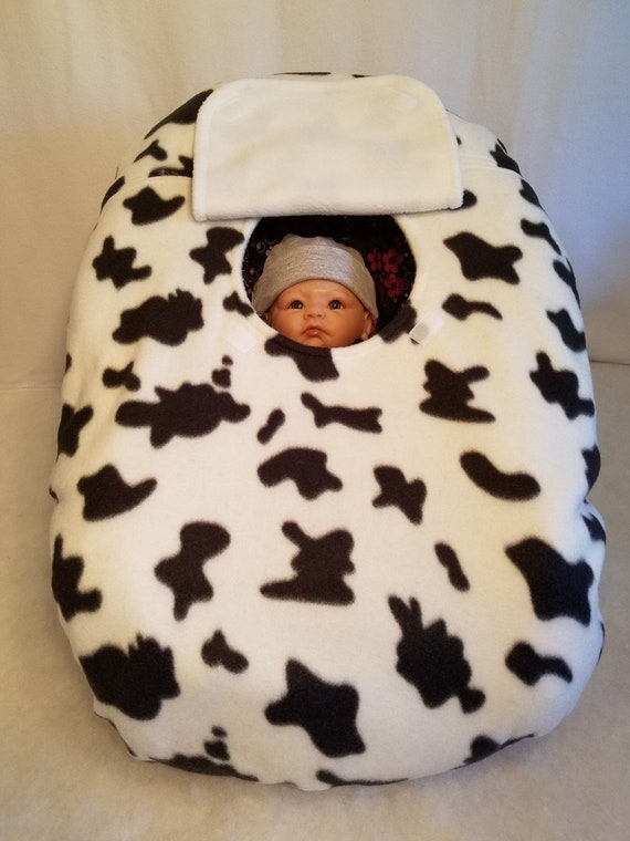 Brilliant Car Seat Cover Black White Cow Print With White Fleece Lining Cozy Hand Made Infant Baby Carrier Custom Embroidery Udderly Adorable Frankydiablos Diy Chair Ideas Frankydiabloscom