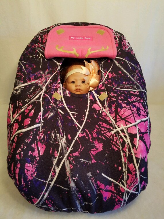 6f081468f Car Seat Cover Muddy Girl Camo Baby With Bright Pink Fleece