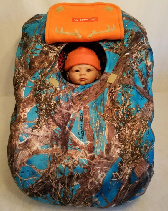 Excellent Car Seat Cover True Timber Blue Camo N Orange Fleece Lining Baby Cozy Hand Made Infant Custom Embroidery My Little Dear N Antlers Cjindustries Chair Design For Home Cjindustriesco