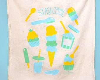 Kitchen Towel, Ice Cream, Tea Towel, Popsicle