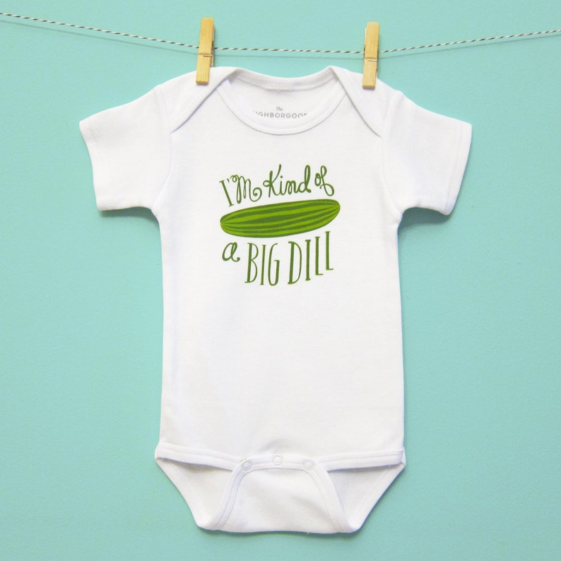 6ef6f13fbef5 Onesie Baby Gift Funny Baby Clothes Gender Neutral Pickles