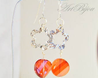 Swarovski Crystal Earrings, Silver Earrings, Dangle, Swarovski Crystal, Orange Earrings, Gift Her, Gift Idea, Women Gift, Christmas Gift
