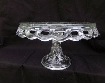 Vintage Clear Glass Footed Cake Stand, Open Lacework Edge, Bubble And Starburst Top Design, 11 3/4 Inch Diameter, 7 Inches Tall, Heavy Glass