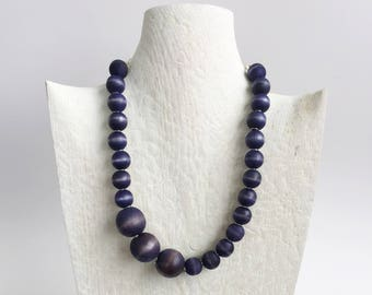 Navy Blue Necklace - Unique Necklaces - Chunky Necklace - Wood Necklace - Jewelry for Bridesmaids - Best Gifts for Her - Wife Gift Ideas