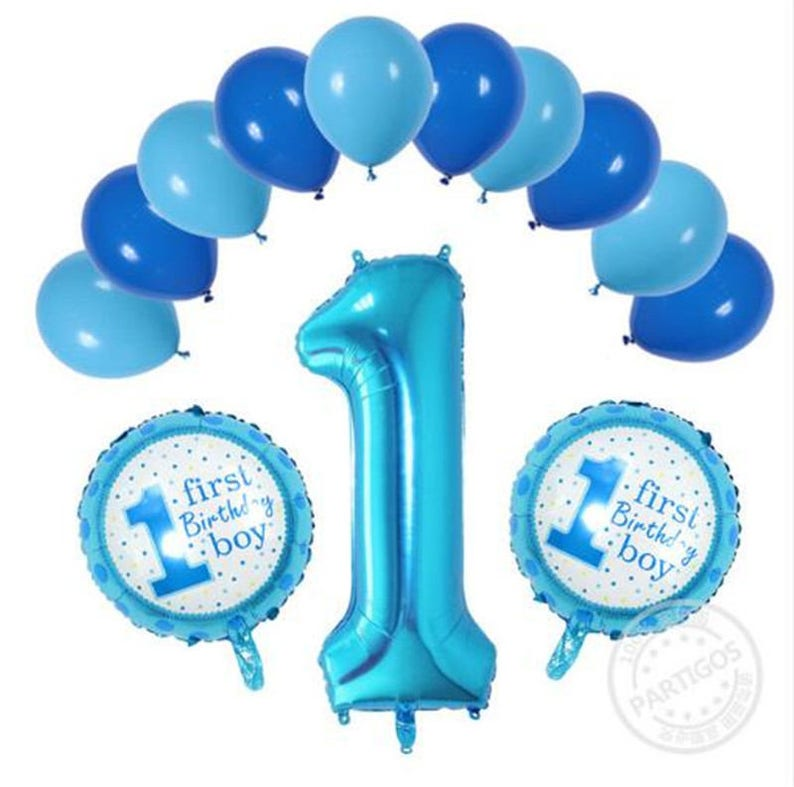 13pcs Lot 1 Year Old Baby Shower Birthday Helium Balloons Boy