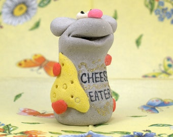 Mouse - CHEESE EATER. Housewarming Gift, Hostess Gift, Custom Signs, Whimsical Art, Statue, Figure, Clay Sculpture, Ceramic Sculpture.