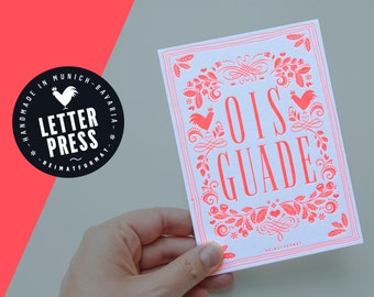 Bavarian birthday card OIS GUADE in neon pink // Birthday greeting card // Letterpress card with envelope