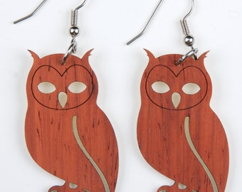Owl, Laser Cut, Wood Earring