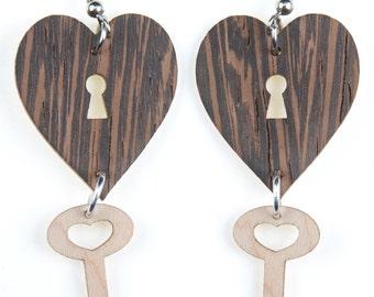 Heart with Key Jewelry, Laser Cut, Wood Earring