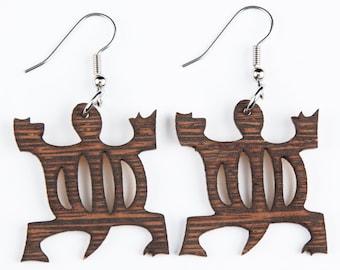 "Turtle, African Symbol of ""Adaptability"", Laser Cut,  Wood Earring"