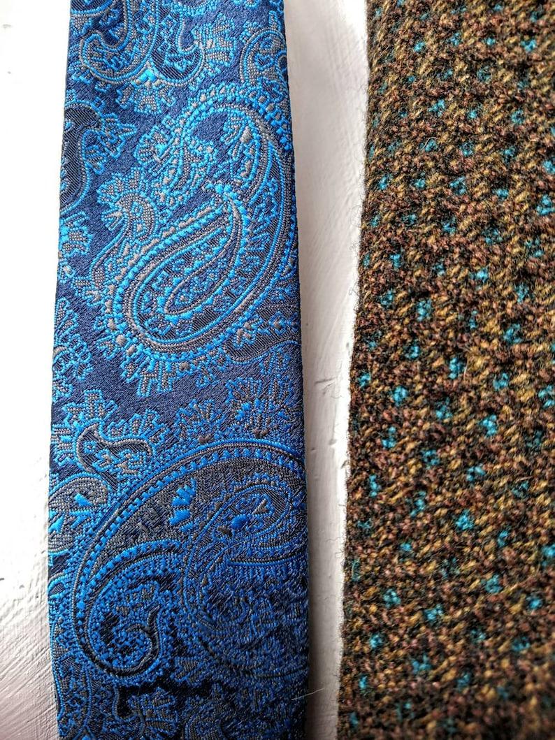 Narrow Vintage Blue Paisley Tie Lucino of London.