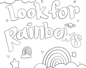 Coloring sheet-Rainbows-Digital Download-jpg-Printable
