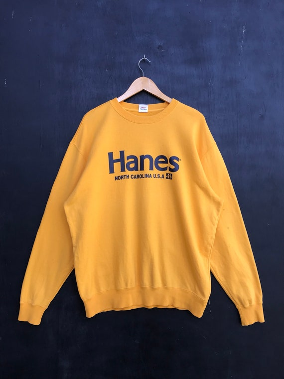 Vintage Hanes Sweatshirt / Hanes Yellow Sweater /