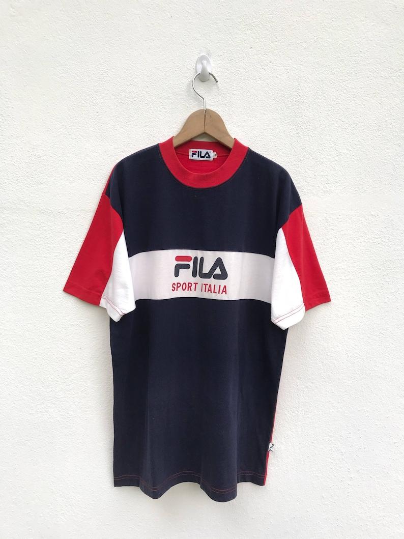0a719a3d14 Vintage Fila Big Logo T Shirt / Fila Color Block / Fila Italia   Etsy