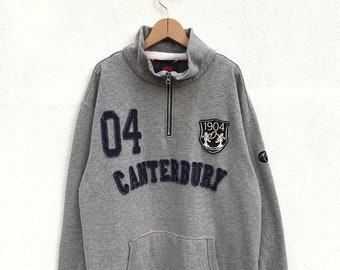 20% OFF Vintage Canterbury Of New Zealand Half Zipper Sweater,Canterbury Rugby Jacket,Canterbury Big Logo,Spell Out
