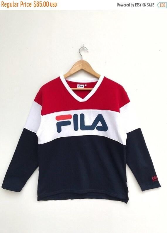 20% OFF Vintage Fila V Neck Big Logo Pullover   Fila Sweater    fba0ef0eb78bd