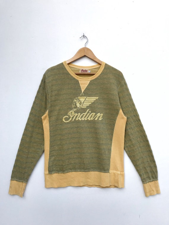 Vintage Indian Motorcycle Embroidery Big Logo Swea