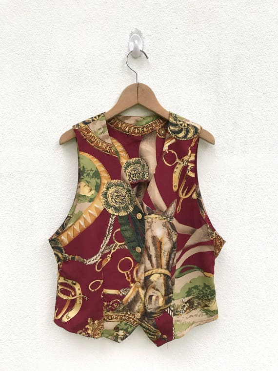 Vintage Baroque Royalty Vests Horses Design / Vint