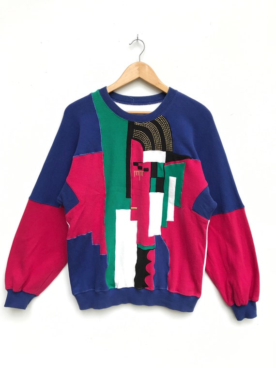 Vintage Abstract Sweatshirt / Abstract Clothing /