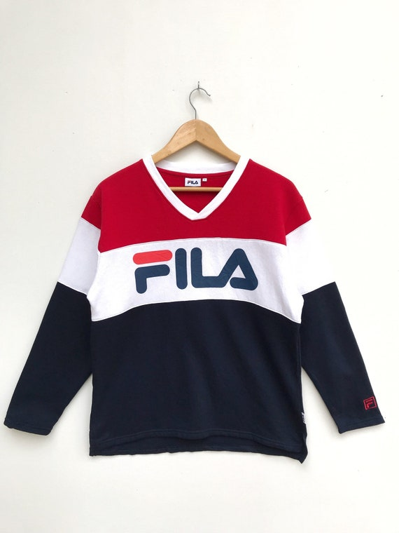 Vintage Fila V Neck Big Logo Pullover / Fila Sweat