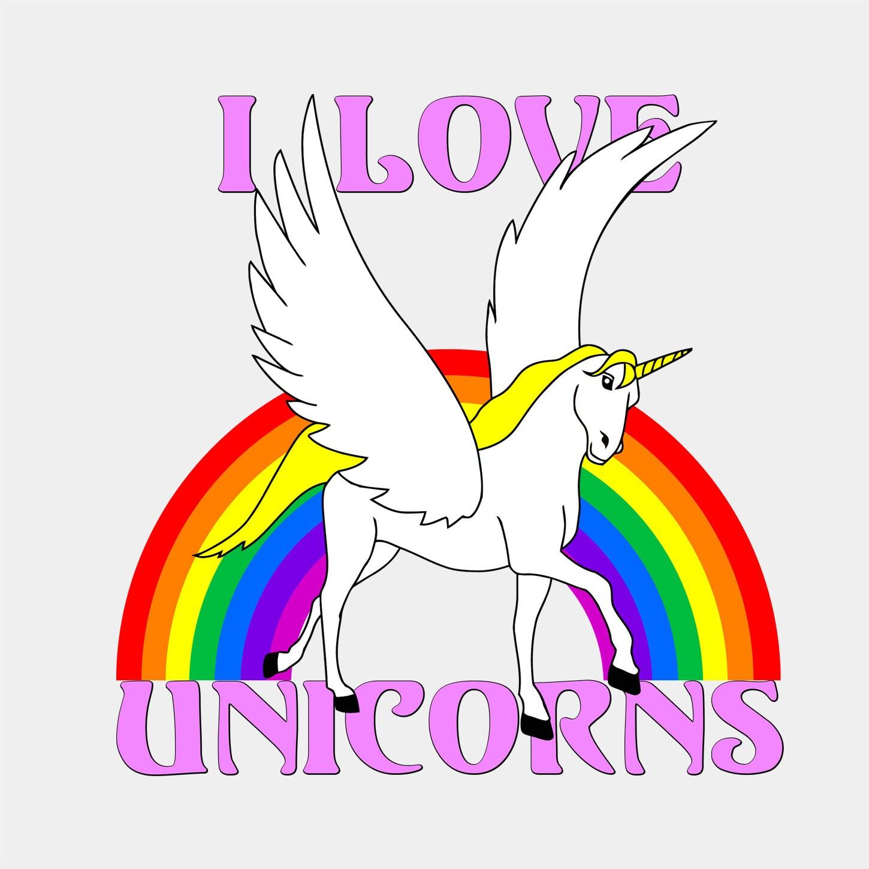 Unicorn I Love Unicorns Bodysuit or Child T-Shirt Adult | Etsy