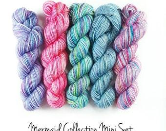 Hand Dyed Yarn.  Indie Dyed Yarn.  MCN High Twist Sock Yarn.  Speckled Sock Yarn.  Mermaid Collection Mini Set.