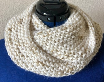 """White and gold soft and silky cowl, hand knitted luxury fibers, beautiful neck warmer 52"""" long by 10"""" wide, warm and cozy, ready to ship."""