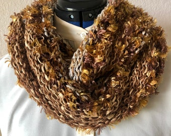 """Golden bronze soft and silky cowl, hand knitted luxury fibers, beautiful neck warmer 52"""" long by 10"""" wide, warm and cozy, ready to ship."""
