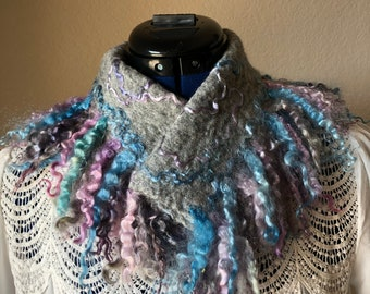 Gray  hand felted scarf, merino wool with mohair curls, FancyFancies  felted collar, women's gift, ready to ship,