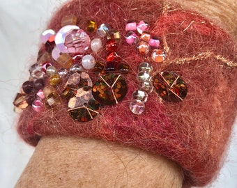 Ready to ship, Coral hand beaded  felt bracelet, felted wool cuff, best seller, fabric jewelry, gift for her, FancyFancie, felted art cuff